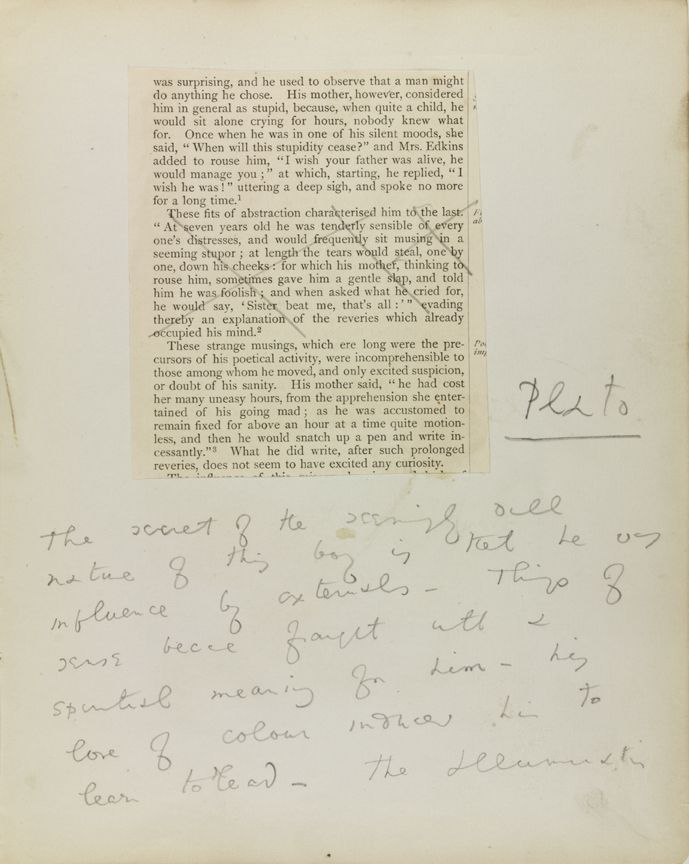 A page from Oscar Wilde's notebook about Thomas Chatterton.