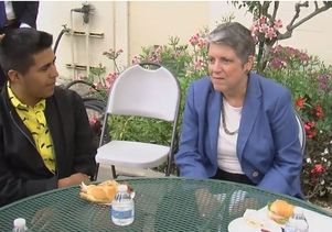 Janet Napolitano with UC-bound high school students