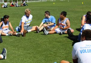 Bruin athletes stretch with Prime Time Games athletes