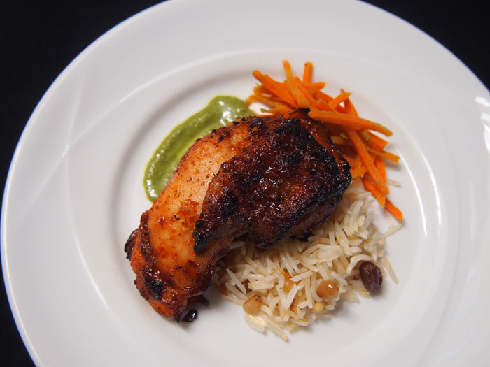 North African-style honey-roasted chicken with Lebanese rice