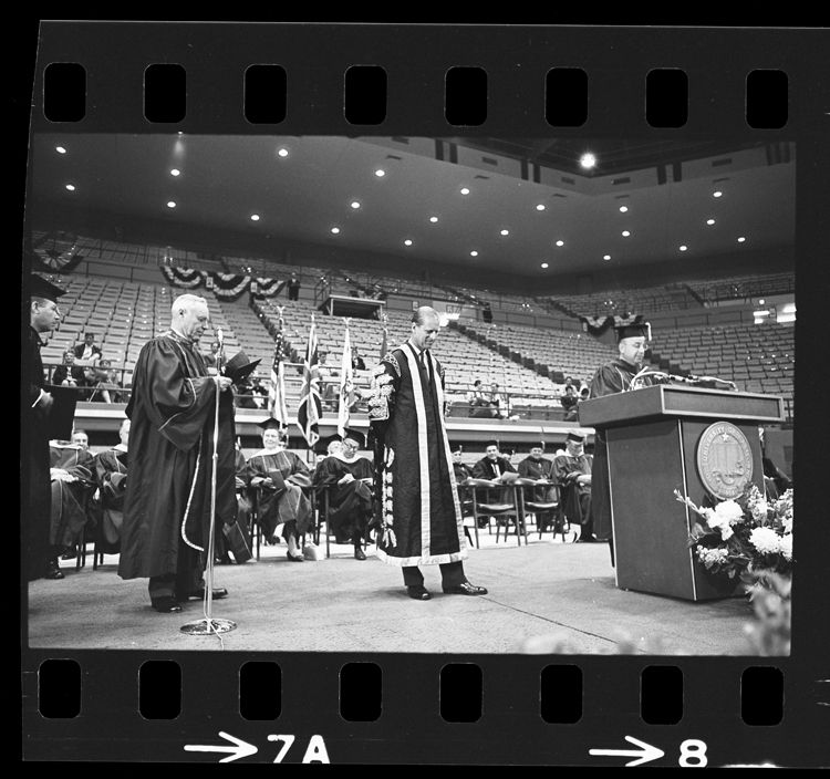 Regent Edward W. Carter and UCLA's Clark Kerr joined Britain's Prince Philip on stage to present an honorary law degree to Queen Elizabeth's husband in 1966. Prince Philip spoke at UCLA Charter Day, celebrating the 98th anniversary of the University of California.