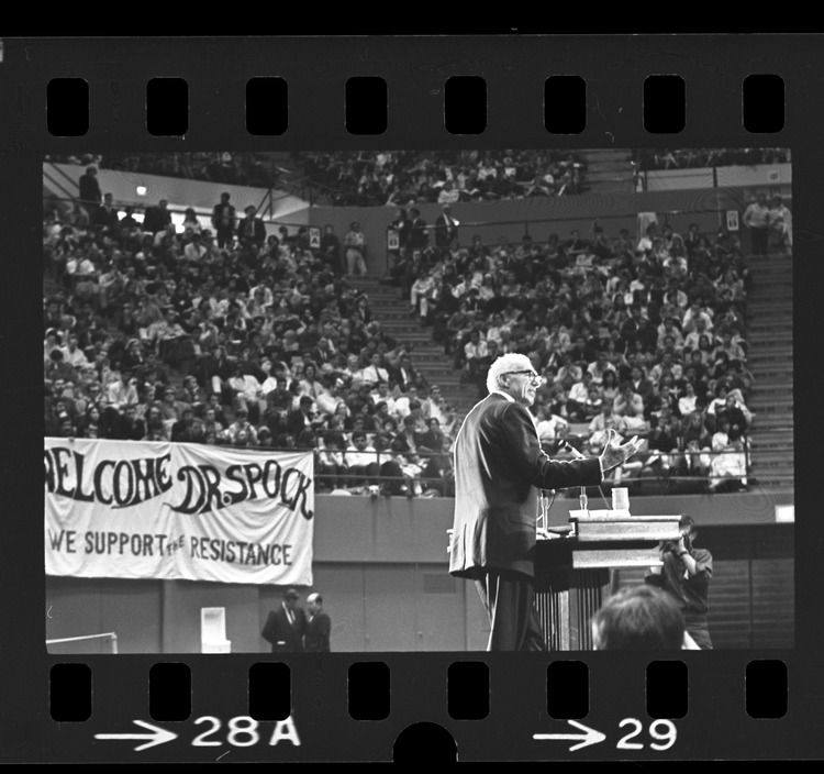 Dr. Benjamin Spock speaking to UCLA students at an anti-war rally