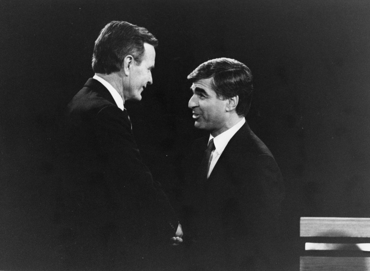 Presidential candidates George H.W. Bush and Michael Dukakis met for their second and final debate in 1988.