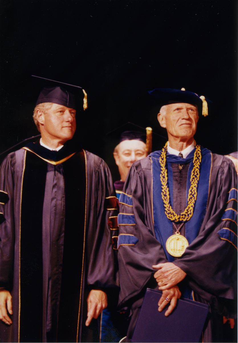 President Bill Clinton with UCLA Chancellor Charles Young, 1994