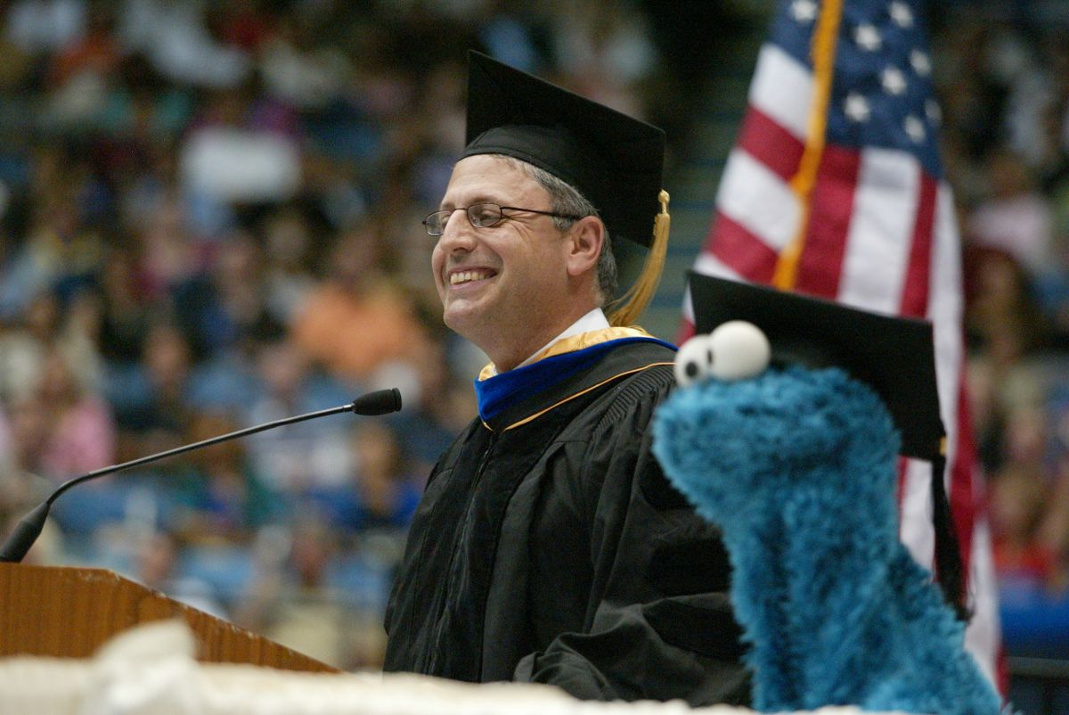 Alumnus Gary Knell spoke at graduation in June 2005. As CEO of Sesame Workshop, Knell brought Cookie Monster for a special appearance before the Pauley Pavilion crowd.