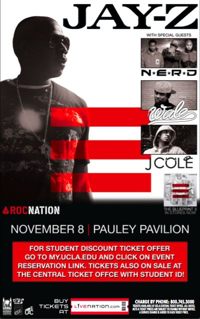 Flier advertising the Jay-Z concert at UCLA in 2009