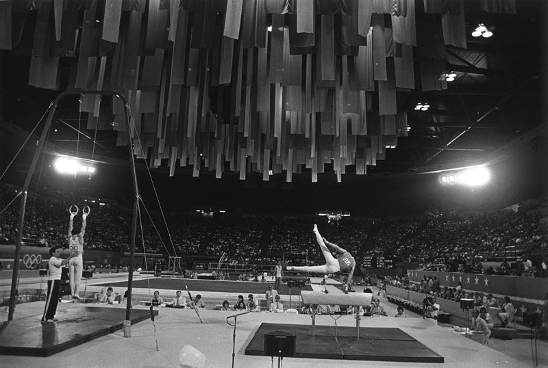 Men's gymnastics at the 1984 Olympics inside Pauley Pavilion