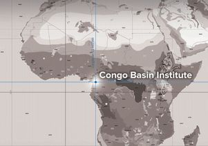 Map pinpointing the location of the Congo Basin Institute