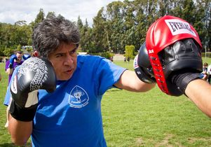 Ivan Lopez practices Muay Thai boxing