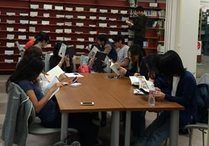 Students at UCLA's East Asian Library