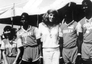 Eunice Shriver at 1972 international games at UCLA