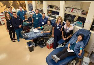 Staff at the UCLA Blood and Platelet Center