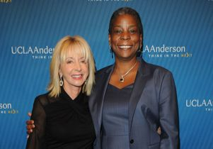 Anderson dean Judy Olian and Wooden award winner Ursula Burns, chairman and CEO of Xerox