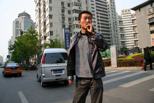 Smoking man in China