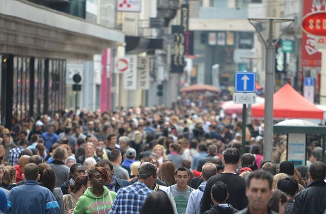 A very crowded street