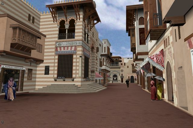 Computer simulation of Street of Cairo from 1893 World's Fair.