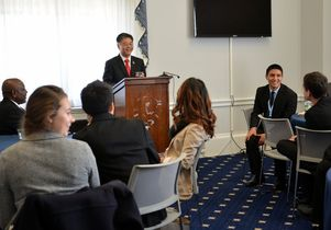 Congressman Ted Lieu addresses the UCLA delegation.
