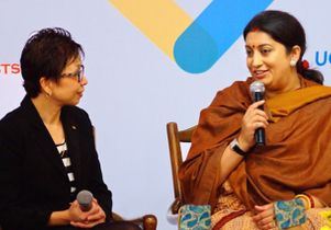 UCLA Vice Provost Cindy Fan with Smriti Zubin Irani, Indian minister of human resources