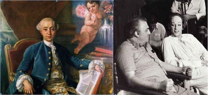 Anton Raphael Mengs (1728–1779), Portrait of Giacomo Casanova, 1760. Federico Fellini and Donald Sutherland on the set of Fellini's Casanova.