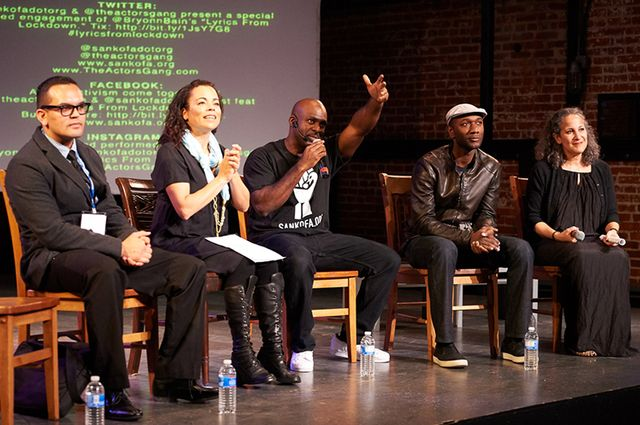 Local leaders and activists, like Michael Griggs, Sabra Williams, director of the Actors' Gang Prison Project, joined Bain (center) and Aloe Blacc and director Gina Belafonte, for post-show, town hall-style talkbacks about the role of the arts and activism in the justice movement.