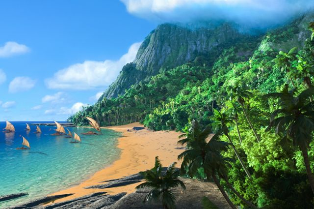 "Boats on water in ""Moana"""