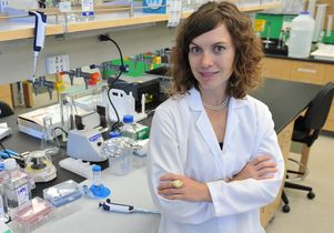 Amy Rowat in her lab