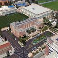 Bird's-eye simulation of the Luskin Conference Center and Westwood Boulevard entrance to the campus
