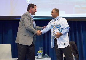 UCLA baseball coach John Savage and Dave Roberts