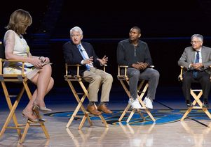 Arianna Huffington, Chancellor Gene Block, Metta World Peace and Dr. Jerry Siegel