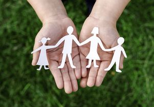 Stock image of a cut-out representing a family
