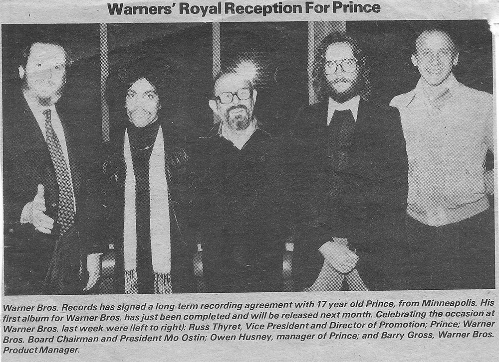Newspaper photo that appeared after Prince signed his first record contract with Warner Bros.