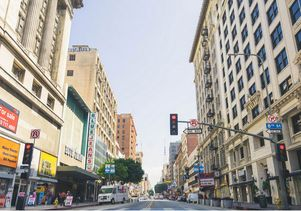 View down Broadway from 8th Street in downtown L.A.