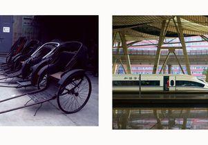 Rickshaw and train