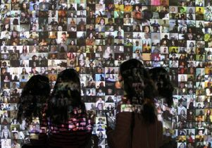Wall of face pictures