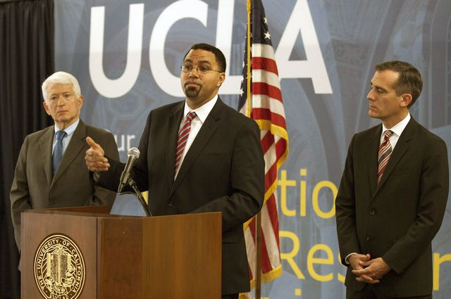 Chancellor Gene Block, US Secretary of Education John B. King Jr. and Los Angeles Mayor Eric Garcetti