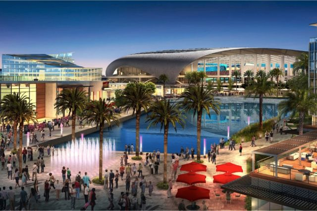 Sketch of future stadium and performance venue in Inglewood