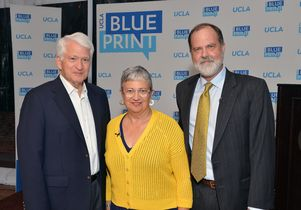 Chancellor Gene Block, Mary Nichols and Jim Newton, editor-in-chief of Blueprint Magazine.