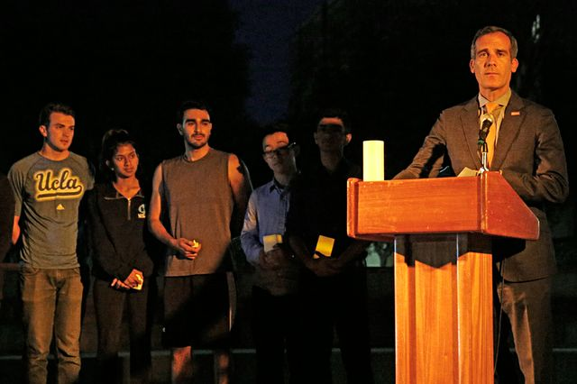 Mayor Garcetti at Klug vigil