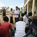 Peace Corps volunteer Wayne Wong leads a class