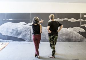 Silke Otto-Knapp, right, and her work