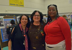 Judy Baca and school staff