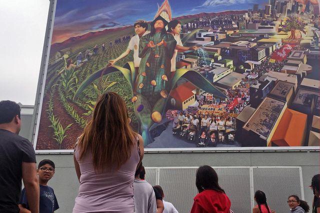 La Gente del Maize mural at the Judith F. Baca Arts Academy in Watts.
