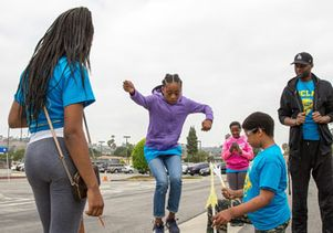 Students test their air-powered rockets