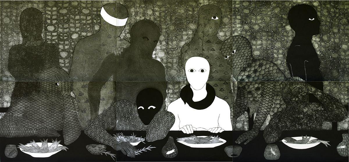 "Belkis Ayón, ""La Cena"" (The Supper), 1991, collography, 138 x 300 cm."