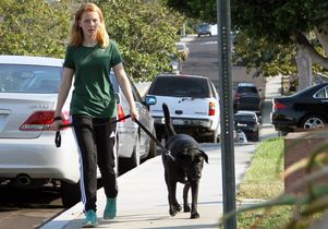 Kennedy walking dog