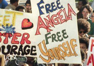 Angela Davis rally signs