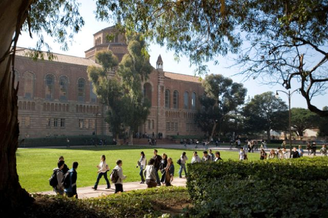 Powell Library and students