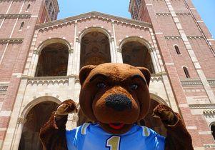 UCLA mascot Joe Bruin at Royce Hall