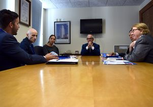 Matthew Flesock talks to Councilman Mitch O'Farrell