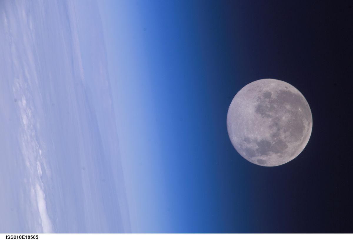 Moon and earth atmosphere